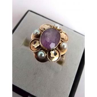 Gouden ring Amethist/parel