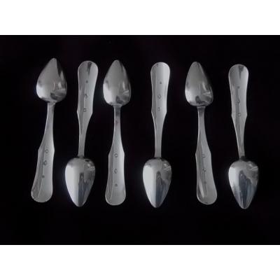 6 zilveren theelepels