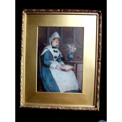 Arthur C H Luxmoore. British ( 1854-1886).- Portrait Of A Dutch Woman Reading.